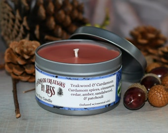 Teakwood & Cardamom 8 oz Soy Candle