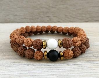 Rudraksha bracelet for Couple Yoga bracelet set Bodhi seed bracelet His and  Her bracelet Yin Yang