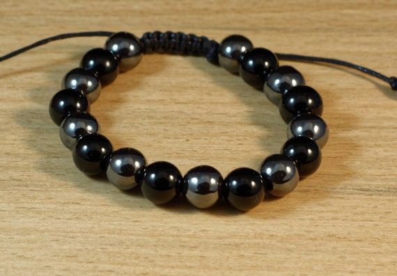 Energy Bracelet Adjustable Bracelet Triple Shamballa Bracelet White Agate Hematite Bracelet Grounding Bracelet Protection Bracelet