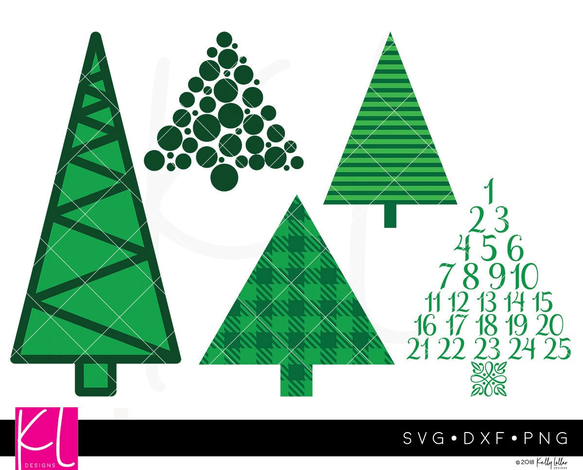Set of 5 Christmas Tree SVG Cut Files Including Advent | Etsy