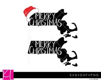 4 Massachusetts Christmas - Massachusetts svg - Merry Christmas svg - Santa Hat svg - State of Massachusetts Christmas svg files