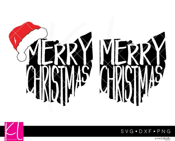 Merry Christmas Ohio Svg Cut Files With Hat Options 4 Piece Etsy