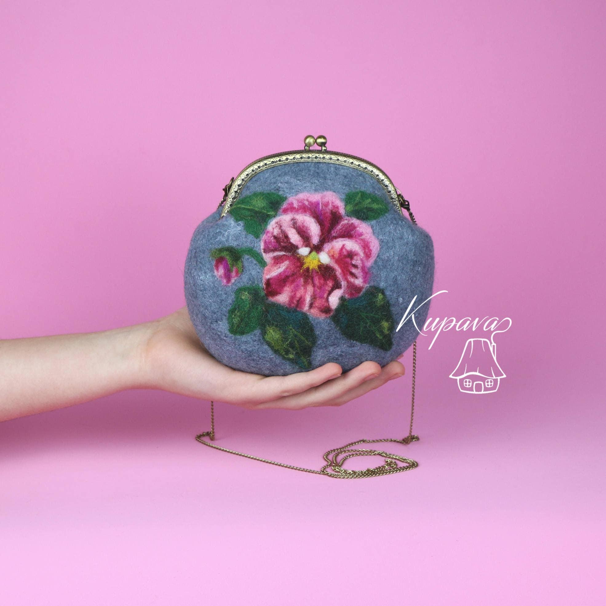 Pansy Accessory Felt Grey Purse Pink Flower Clutch Bohemian Etsy