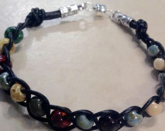 Leather Bracelet Braided and Knotted with Picasso Beads