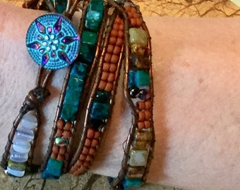 Quadruple Moonstone and Apatited Beaded Leather Wrap Bracelet