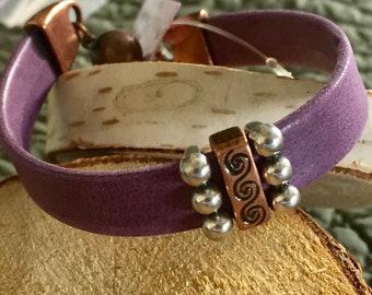 Purple Nappa Leather and Copper Bracelet