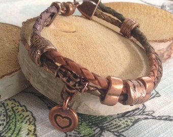 Double Strands Earthtones Braided Leather  and Copper Bracelet