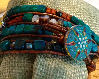 Quadruple Leather Wrap Bracelet with SemiPrecious Stones