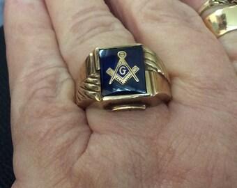 Vintage Blue 10 kt, gold Masons ring