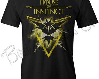 32ae0c883 Pokemon GO Shirt Team Instinct Tee Tshirt GoT House of Instinct Pokemon  Game of Thrones Custom Shirt