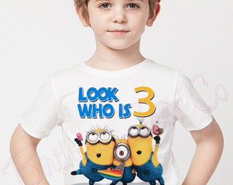 Customized Minions Birthday Shirt Add Name Age Personalized Tshirt