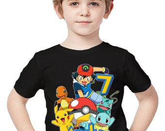 979b279f Pokemon Birthday Shirt Add Name & Age Pokemon Custom Birthday Party TShirt