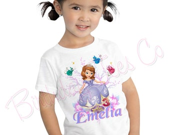 Customized Sofia the First Birthday Shirt Add Name & Age Princess Sofia Custom Birthday Party Tee
