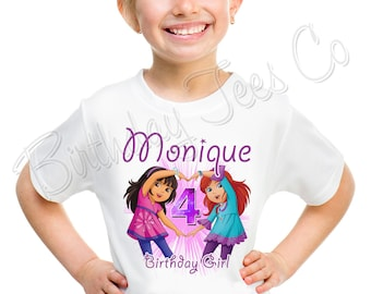Dora and Friends Birthday Shirt Add Name & Age Dora The Explorer Custom Birthday Party TShirt