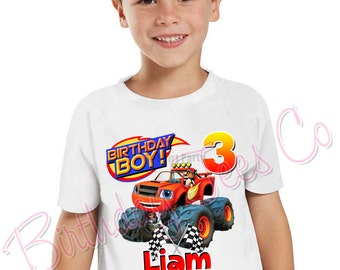 Customized Blaze and The Monster Machines Birthday Shirt Add Name & Age Personalized Blaze Birthday Party Tee