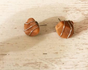 Silver Wrapped Stone Stud Earrings