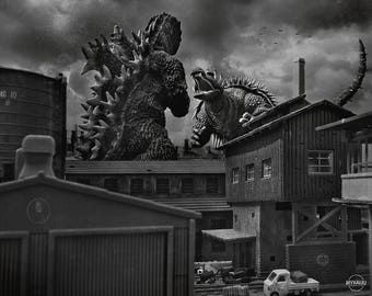 "10""x8"" Print of MyKaiju Toy Photography Godzilla Raids Again 1955"