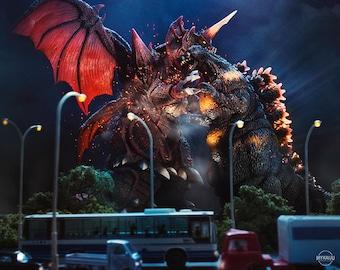 "10""x8"" Print of MyKaiju Toy Photography Godzilla vs Destroyah 1995"
