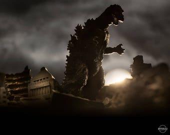 "10""x8"" Print of MyKaiju Toy Photography Godzilla Diet Building"