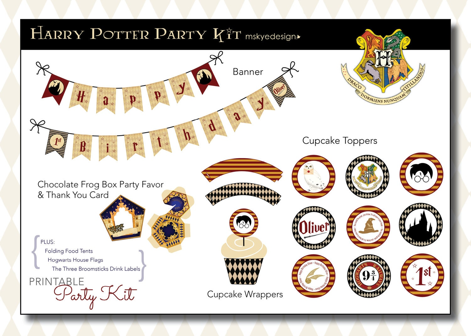 harry potter anniversaire party kit imprimable etsy. Black Bedroom Furniture Sets. Home Design Ideas