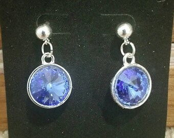 0268-14mm Silver and Sapphire Swarovski Earrings