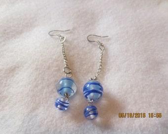 0053-Blue & Silver Glass Bead Drop Earrings