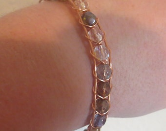 0071-Copper & Crystal Wire Wrapped Bracelet