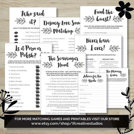 Favourite Memory Game, Hens Party, Bridal Shower, Bachelorette, Printable  Games, Digital Download, Black/White, Leaf, Wedding Shower
