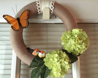 Spring Blooms Wreath /Bird Decor