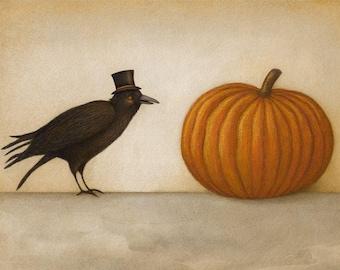 "Crow and Pumpkin 7"" x 5"" Print"