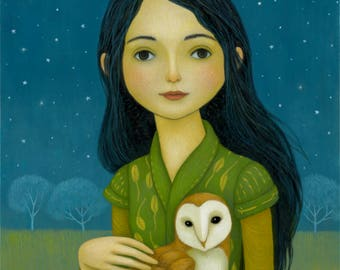 Nightowls - Girl with Owl Print 8 x 10