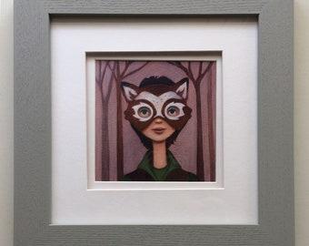 Wall Art -  Girl in Deer Mask Framed Print - Ready to Hang