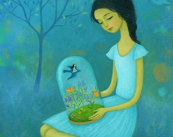 """Secret Garden - Illustration Art - 8"""" x 10""""  Art Print"""