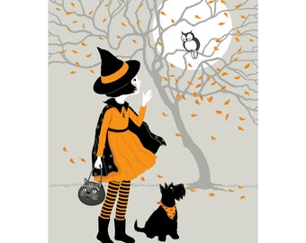 Vintage-Style Little Witch and Scottie Dog Print - 8 x 10