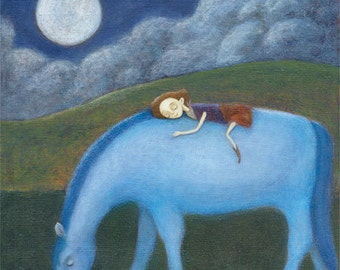 Blue Horse in the Moonlight Giclee Print 6 x 6