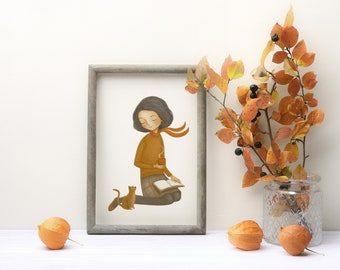 Autumn print for book lovers, cat lovers, fall colors