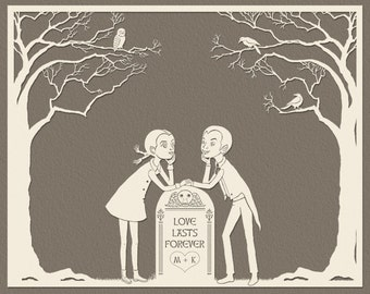 Love Lasts Forever 8 x 10 Print - Adorable Goth Couple - Customize With Your Initials