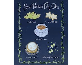 "Sweet Treats and Fairy Cakes 8"" x 10"" print, Halloween decor, magical art"