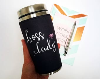 Personalised Boss Lady tumbler gift, insulated coffee travel mug, tumbler with lid, bff gift for women, office mug, girl boss gift for her