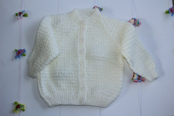 Cream Bella Baby Tizz Hand Knitted Cardigan Etsy