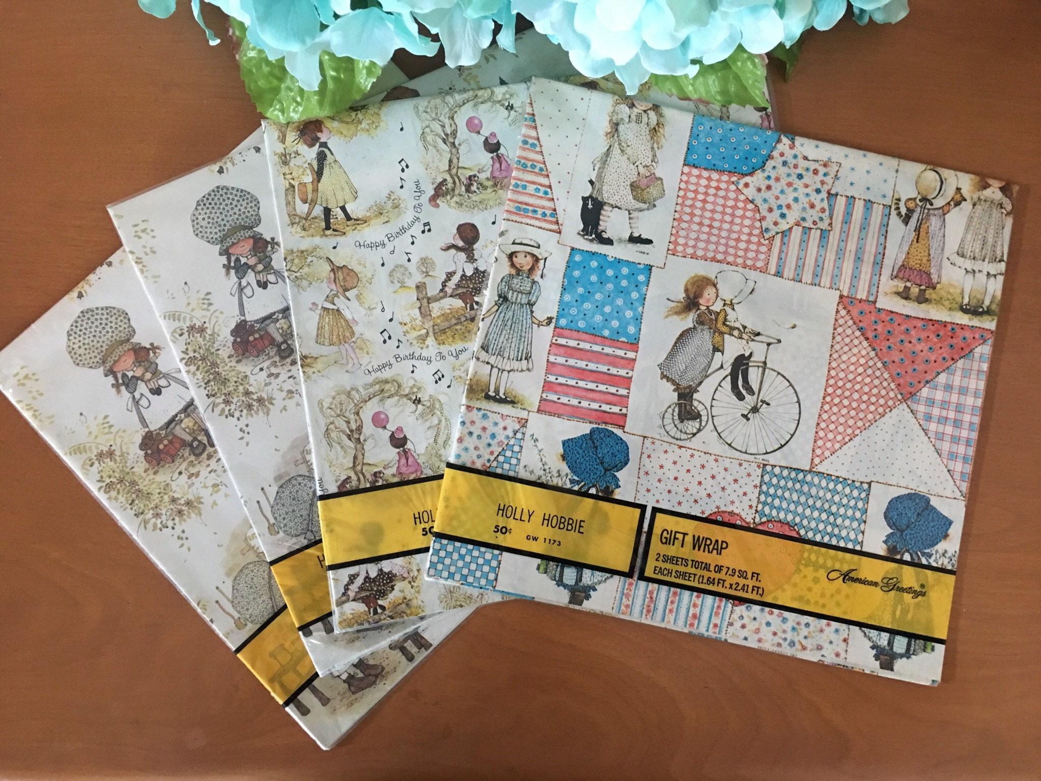 American Greetings Holly Hobbie Gift Wrap 4 Packages New Etsy