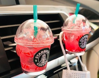 Miniature Starbucks cup Strawberry Pink Drink/Car accessories/Mask holder for car/Macaroon clip/ Boba clip bubble  tea/Starbucks Keychain