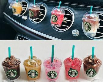 Miniature Starbucks Coffee Cup Drink/Car accessories/ Mask holder Car Vent Clip/ Car Air Vent Clip / Starbucks Keychain/Stocking stuffer