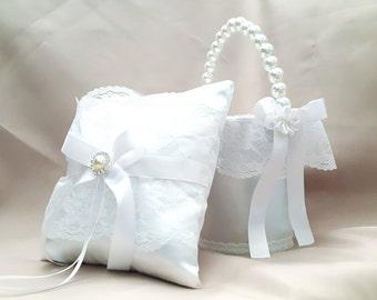 Flower girl basket and Ring bearer pillow, Flower girl basket, Ring bearer pillow white, Elegant Wedding, Classic Wedding, White wedding