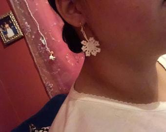 Holiday Snowflake Crochet Earring