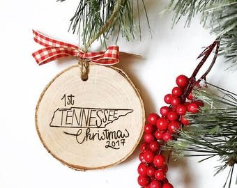 State Outline - First Christmas - Wood-burned - Christmas Tree Ornament