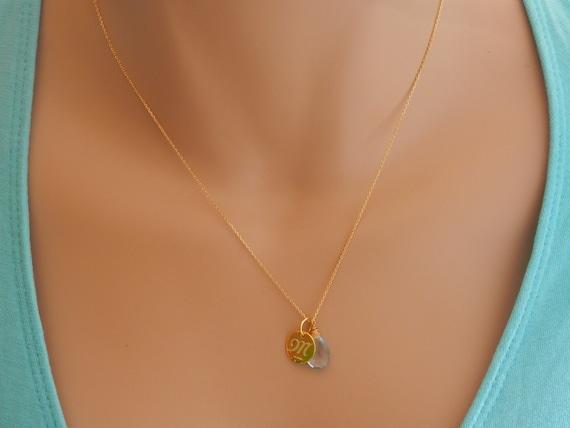 14k Gold Emerald May Birthstone Cursive Letter I Dog-tag Necklace