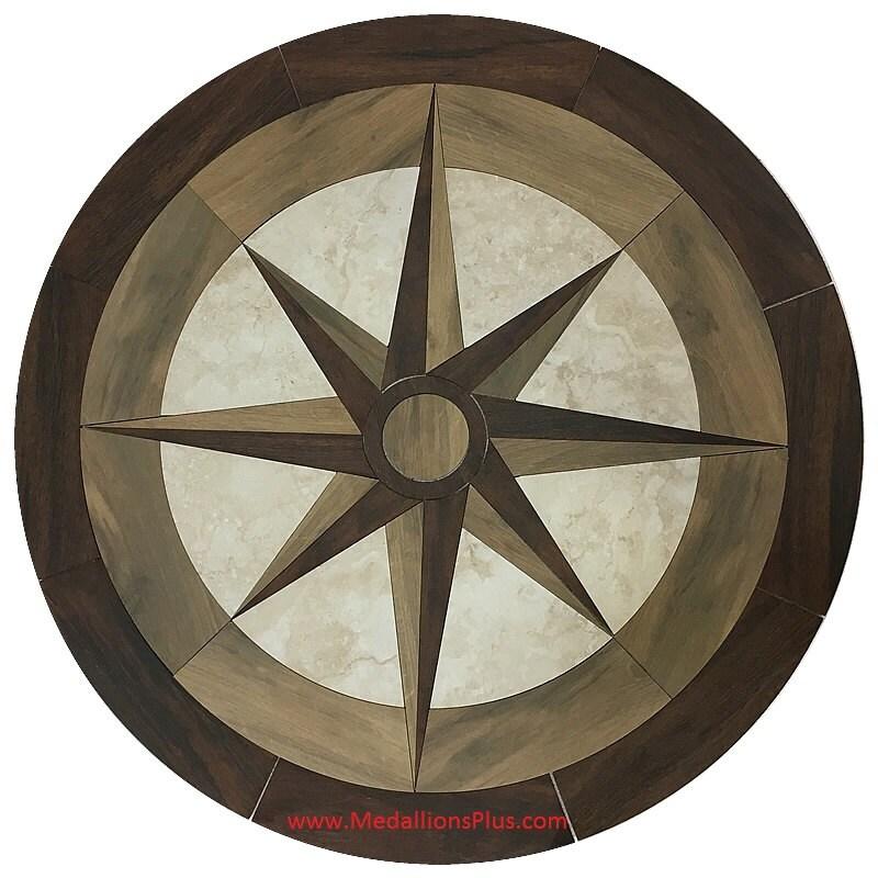 Wooden Star 24 Waterjet Porcelain Wood Floor Medallion Etsy