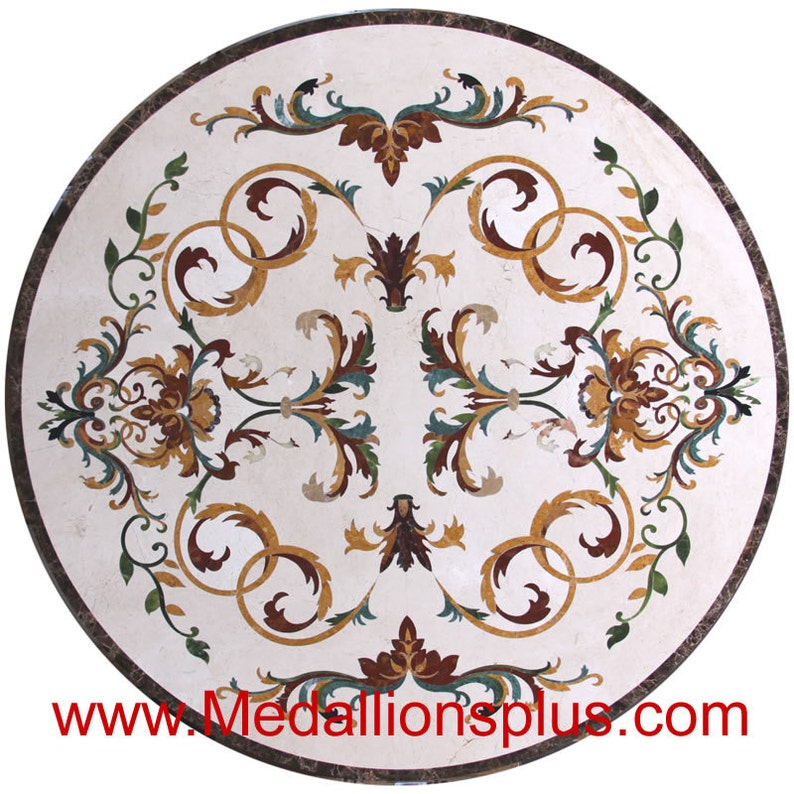 Annabelle 48 Polished Waterjet Marble Floor Medallion