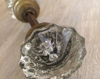 Antique crystal glass doorknob, 1900s double sided doorknob, Faceted crystal glass, crystal doorknob,home and living.